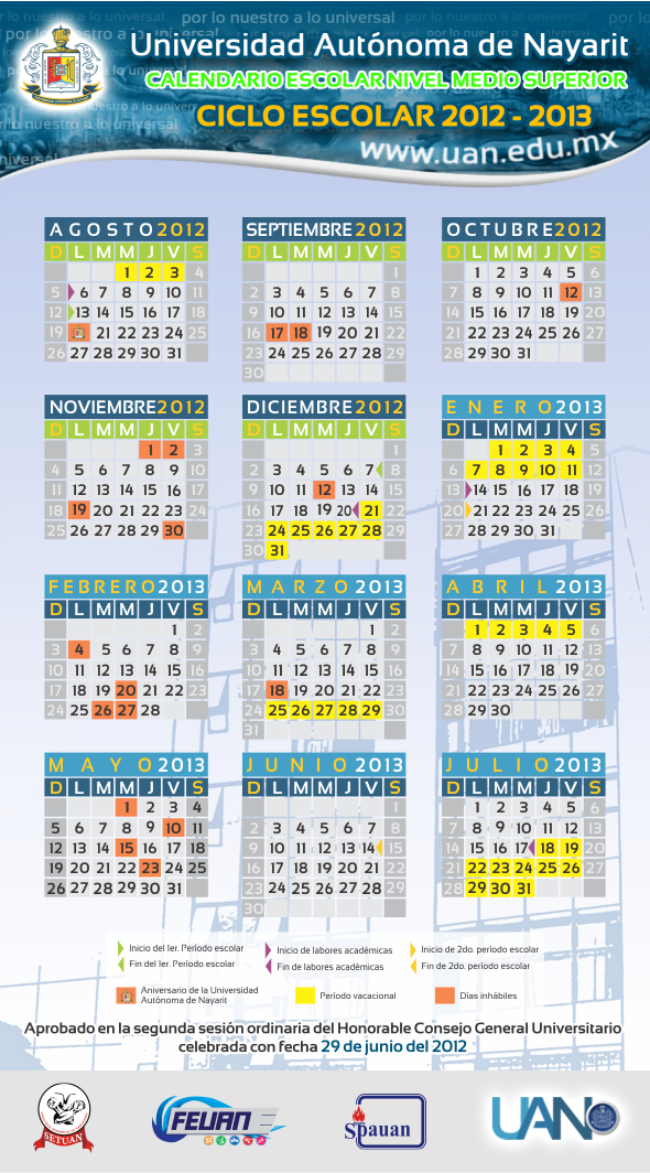 Calendario Universitario.Calendario De Eventos De La Uan