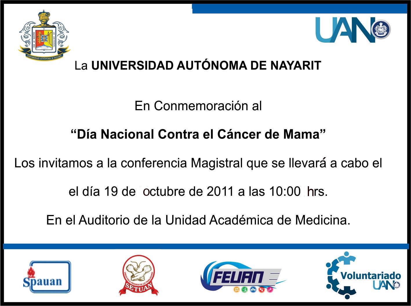 Invitación A Conferencia Día Nacional Contra El Cáncer De Mama