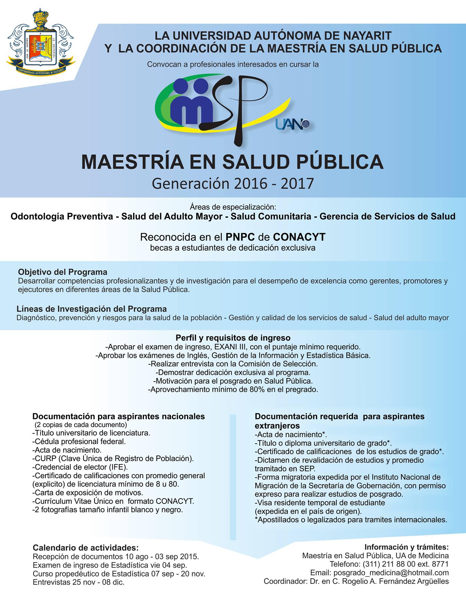 Convocatoria Maestría en Salud Pública 2016 -2017
