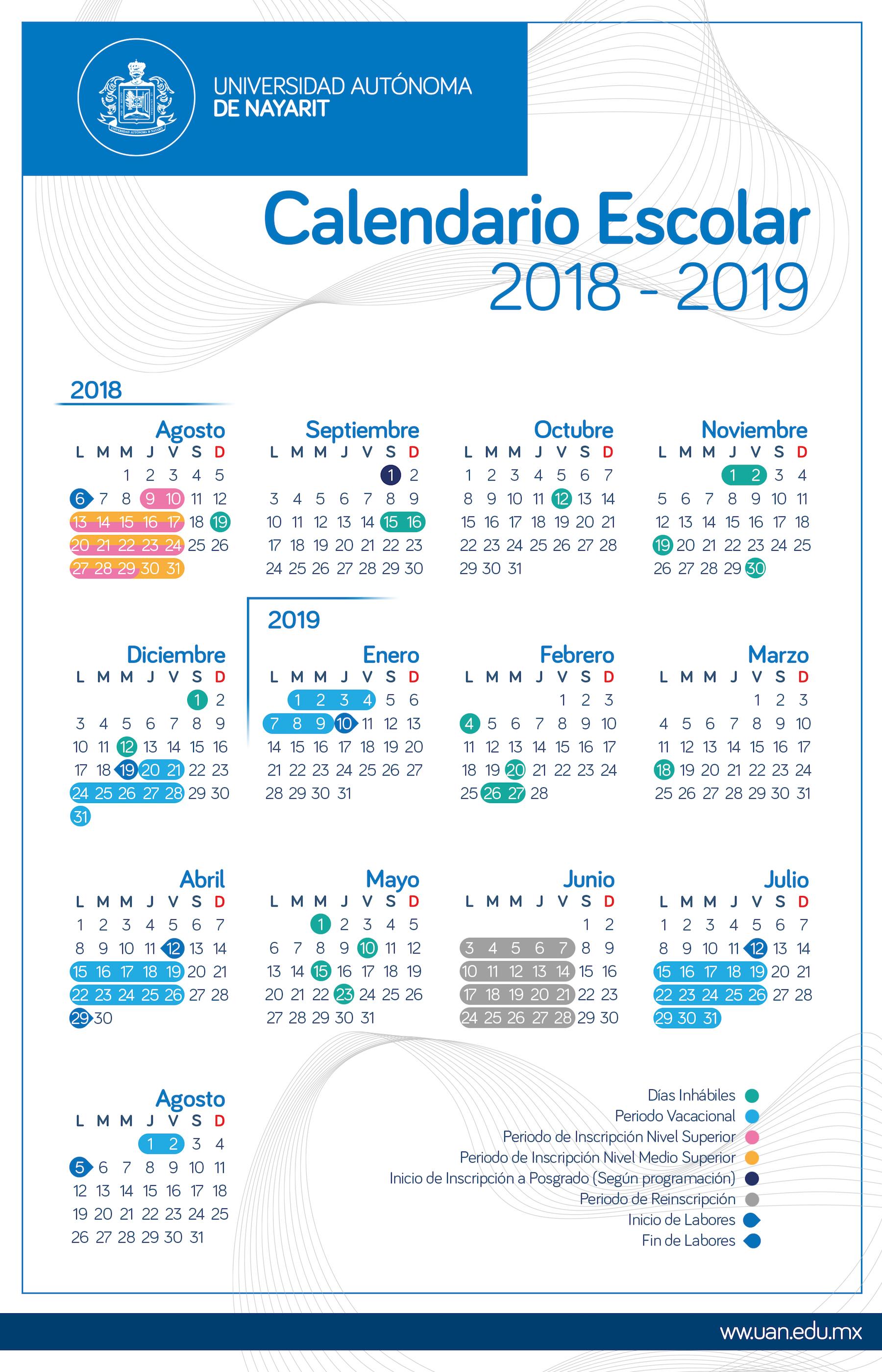 Calendario Universitario.Calendario Escolar Uan 2018 2019