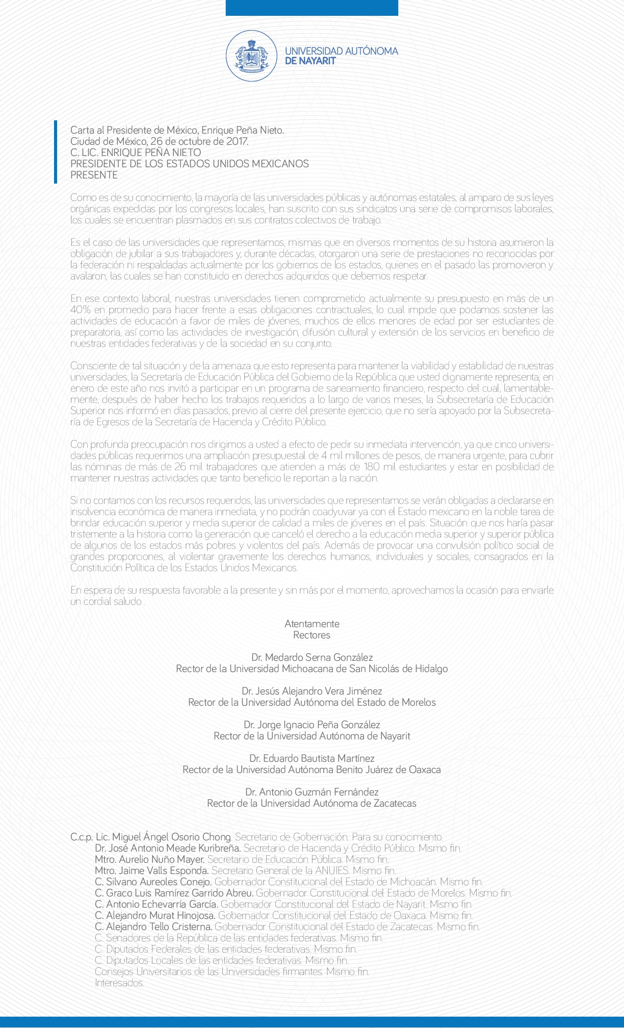 Carta al presidente de mxico por parte de universidades pblicas thecheapjerseys Choice Image
