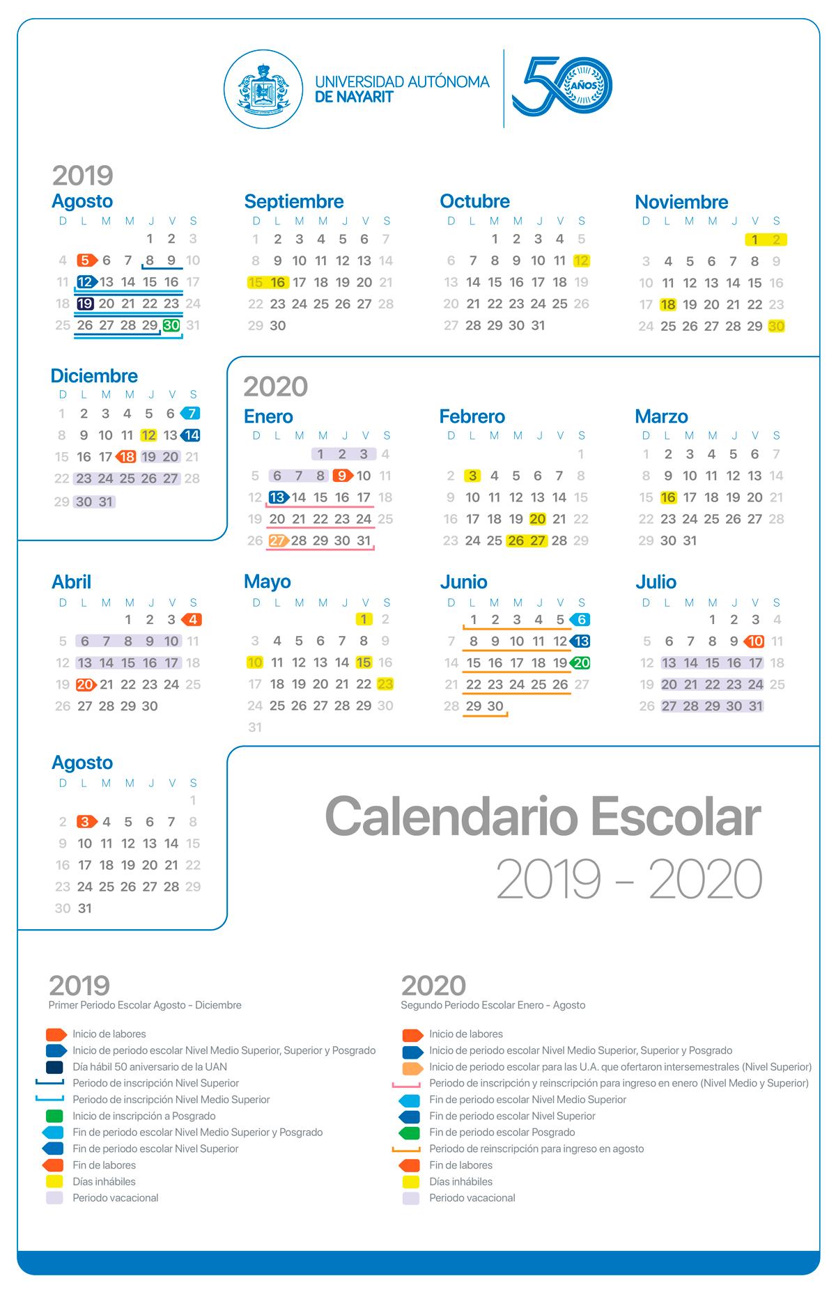 Calendario Julio Y Agosto 2020.Calendario De Eventos De La Uan